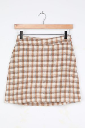 Cream Plaid Skirt - Plaid Print Mini Skirt - Flannel A-Line Skirt - Lulus