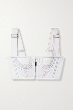 Cropped Topstitched Cotton-blend Bustier Top - White