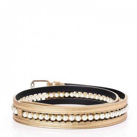 CHANEL Metallic Lambskin Pearl CC Belt 90 36 Gold 245645