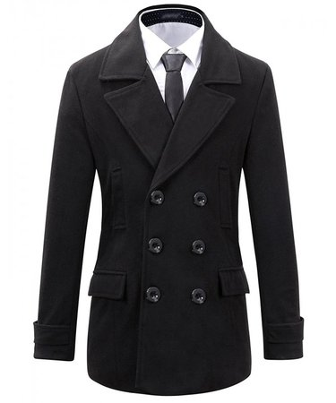 Mens Wool Slim Fit Double Breasted Half Trench Coat - Black - CX128A00TC1