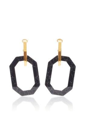 Gold-Tone And Onyx Earrings By Oscar De La Renta | Moda Operandi