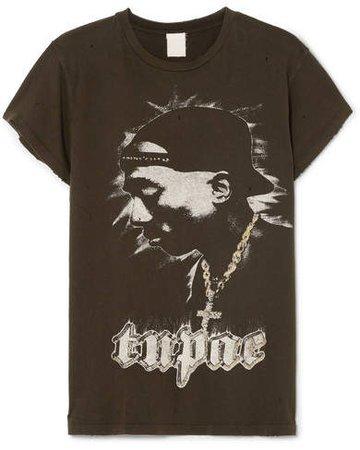 MadeWorn - Tupac Distressed Printed Cotton-jersey T-shirt - Black