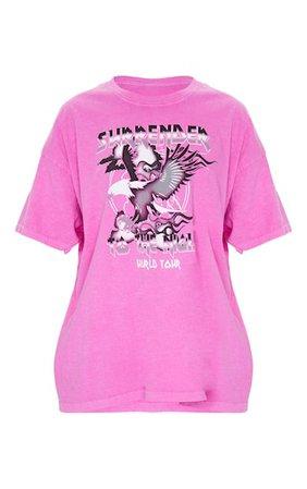 Pink Surrender World Tour Slogan Washed T Shirt | PrettyLittleThing USA