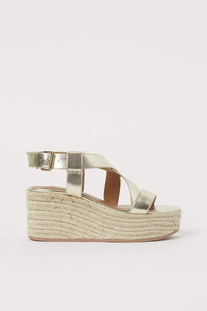 Wedge-heeled Sandals - Gold