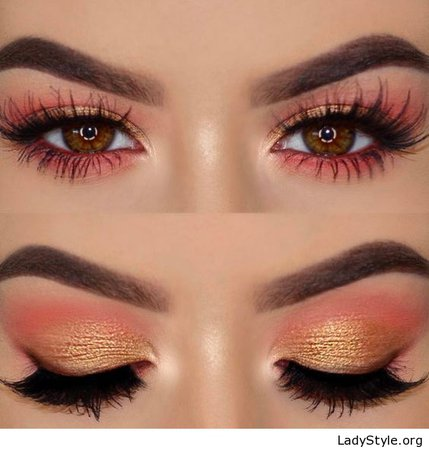 Coral and Gold Eyeshadow