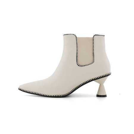 Cream LACAN Sculptured Heel Leather Ankle Boots | JessicaBuurman