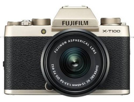 Kit Máquina Fotográfica Mirrorless FUJIFILM X-T100 + XC15-45mm F3.5-5.6 OIS PZ (Dourado - 24.2 MP - Sensor: APS-C - ISO: 100 a 51200) - WORTEN