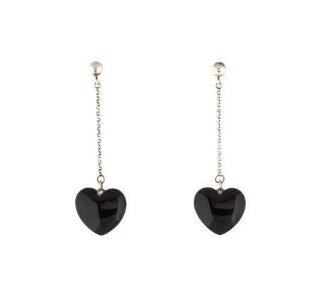 Tiffany & Co. Silver/Black Sterling Onyx Heart Drop Earrings - Tradesy