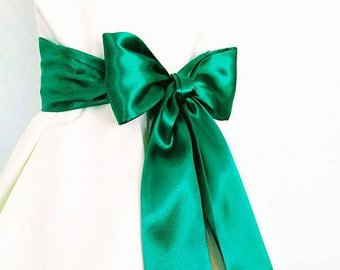 Floor Length EMERALD or Kelly Green Bridal Sash Satin Sash Not | Etsy