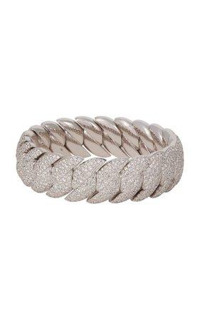 18k White Gold Wave Link Bracelet By Sidney Garber | Moda Operandi