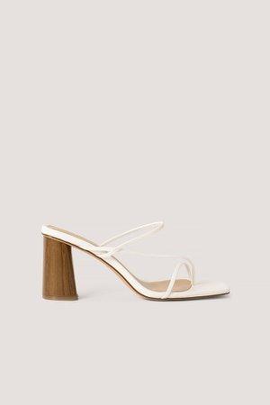 Fine Strappy Block Heel Sandals White | na-kd.com