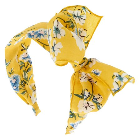 Floral Floppy Bow Headband - Yellow | Claire's