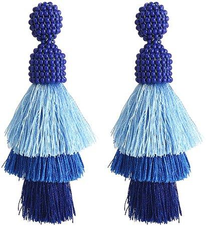 Amazon.com: Bohemian Beaded Tassel Earrings Tiered Layered Statement Fringe Drop Earring (Blue): Jewelry