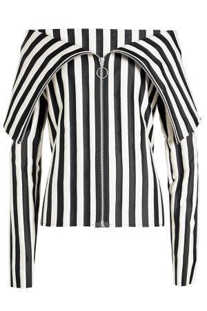 Striped Top with Zipped Front Gr. S