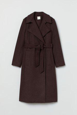 Tie-belt coat - Dark brown - Ladies   H&M GB