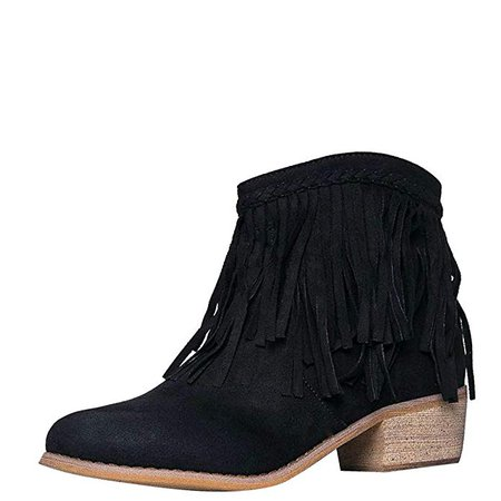 Amazon.com | Bella Marie Womens Round Toe Med Low Heel Faux Suede Cowboy Western Fringe Ankle Boot Booties | Ankle & Bootie