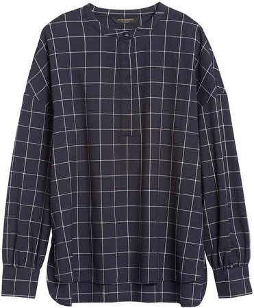 JAPAN EXCLUSIVE Oversized Flannel Banded-Collar Shirt