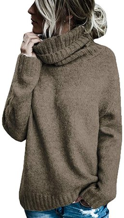 Hestenve Womens Turtlneck Pullover Sweater Knitted Ribbed Loose Chunky Jumper Tops (X-Large, Coffee) at Amazon Women's Clothing store
