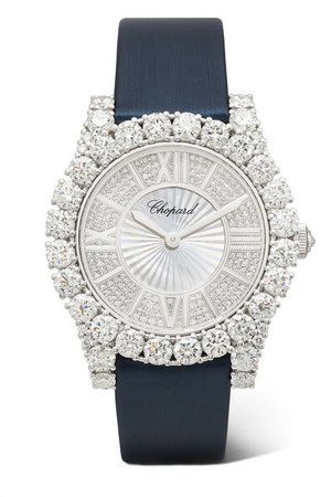 Chopard | L'Heure du Diamant 35.75mm 18-karat white gold, satin, diamond and mother-of-pearl watch | NET-A-PORTER.COM