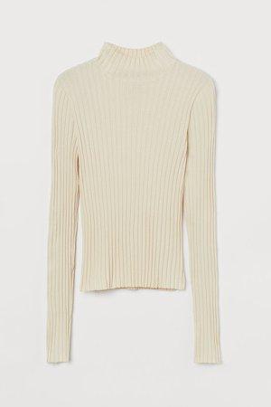 Ribbed Turtleneck Sweater - Beige