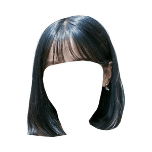 Short Black Hair Bangs PNG