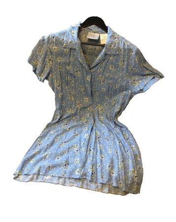 dainty blue floral tea dress