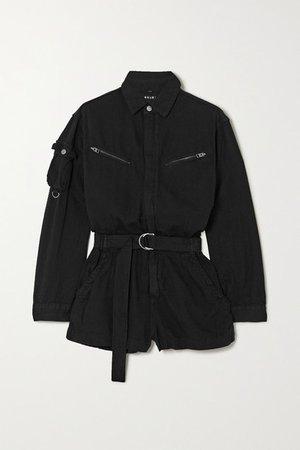 Belted Cotton Playsuit - Black