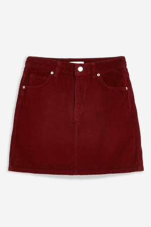 Burgundy Corduroy Mini Skirt   Topshop