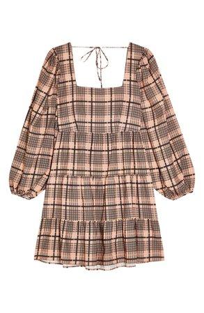 Topshop Textured Check Long Sleeve Minidress | Nordstrom