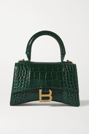 Green Hourglass XS croc-effect leather tote | Balenciaga | NET-A-PORTER