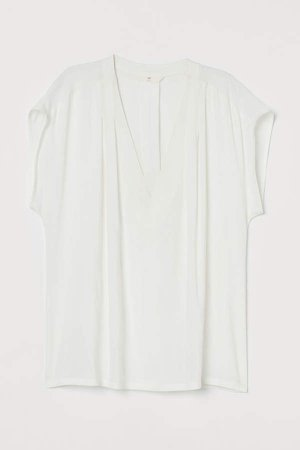 V-neck Blouse - White