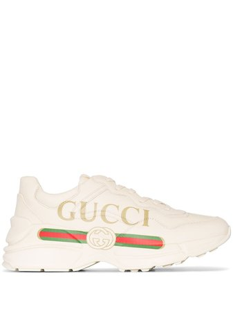 Rhyton Gucci Logo Leather Sneakers Ss20 | Farfetch.com
