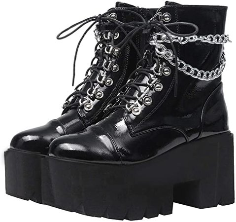 Amazon.com: AIMODOR Womens Chunky Platform Goth Combat Boots with Chains Punk High Heel Lace Up Ankle Boots 4,Black: Shoes