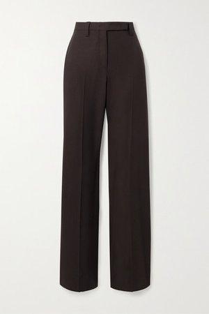 Wool-twill Straight-leg Pants - Dark brown