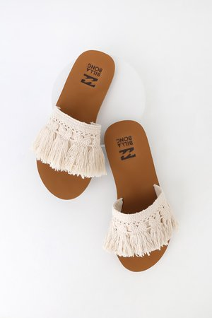 Billabong Coastal Vibe Sandals - Fringe Slide Sandals - Sandals