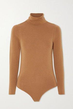 Camel Galora wool turtleneck bodysuit   LOULOU STUDIO   NET-A-PORTER