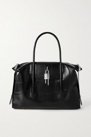 Antigona Soft Lock Medium Croc-effect Leather Tote - Black