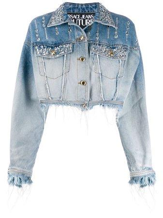 Versace Jeans Couture rhinestone-embellished Denim Jacket - Farfetch