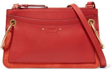 Roy Mini Leather And Suede Shoulder Bag - Red