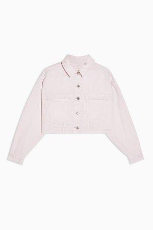 Pink Denim Cropped Jacket   Topshop