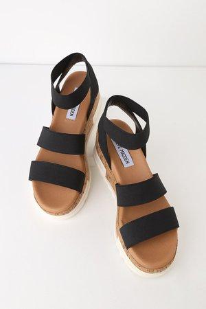 Steve Madden Bandi - Black Sandals - Cork Sole Sandals