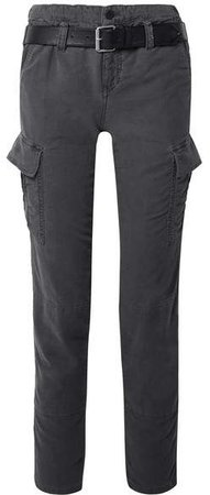 Sallinger Belted Cotton-twill Cargo Pants - Dark gray
