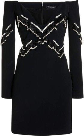 Cushnie Off-The-Shoulder Silk Mini Dress