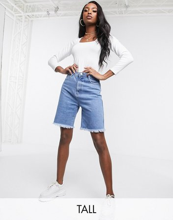 Missguided Tall longline denim shorts in blue | ASOS