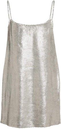 Zeynep Arcay Metallic Leather Mini Dress