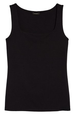 Halogen® Square Neck Tank   black
