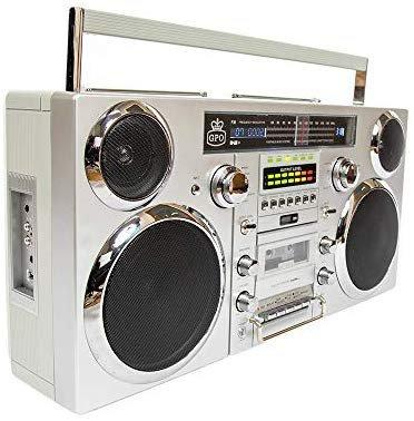 Amazon.com: GPO Brooklyn 1980S-Style Portable Boombox - CD Player, Cassette Player, FM & DAB+ Radio, USB, Wireless Bluetooth Speaker - Silver: Electronics