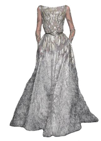 Tony Ward White & Silver Belted Embellished Feather Gown (edit by alldressedupbutnowheretogo)