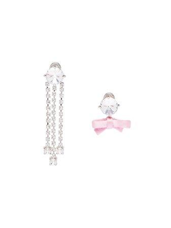 Miu Miu Asymmetric Crystal Bow Earrings - Farfetch