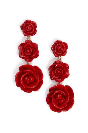 Tiered Rose Drop Earrings | Forever 21